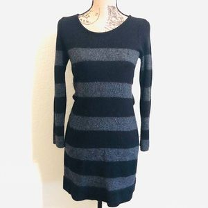 Loft black and gray long sleeve wool sweater dress